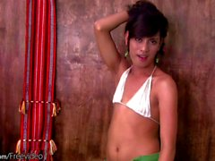 Filipino femboy in white bikini is dancing and tugging off