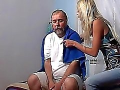 Tattoed blonde teen 69ing an old dude