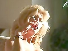 Awesome blonde honey smokes cigarette part2