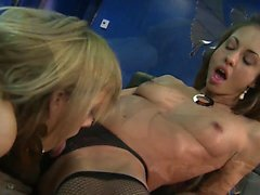 Blondie babe bends over to lick her girlfriends pussy