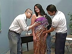 Three lucky guys licking one pretty indian wife