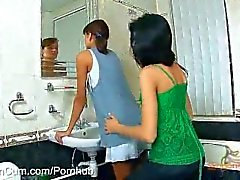 StraponCum: Fun In The Ladies Room. Part 1 of 4. Girl Never Knows Who She
