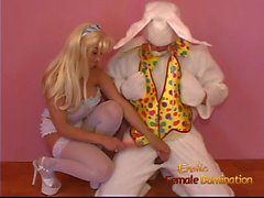 Stacked blonde filly reenacts her fantasy with a dude wearin