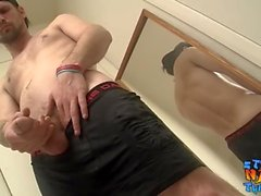 Hunky straight dude tugging until he squirts out cum
