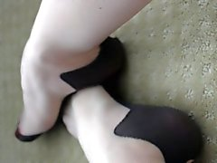 Red Toes in Cuban Heeled Pantyhose