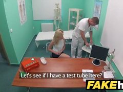Fake Hospital Petite blonde Czech patient health test ends with hot wet sex