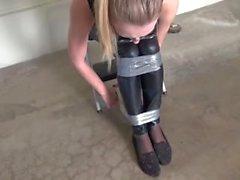 Captured bound and gagged hottie, garage bondage