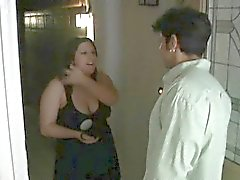 Slutty fat woman shows big body and fucks well with sexy guy
