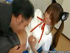 Asian teen gets her navel licked by teacher