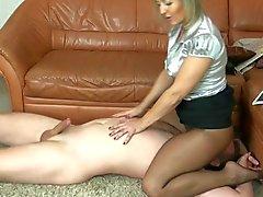 mature nylon spitting foot fetish and handjob 7