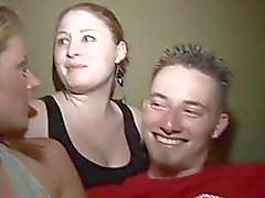 wild college party threesome fuck