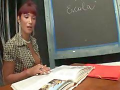 Pretty TS teacher sucked and fucked by student