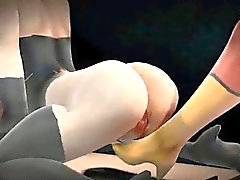 3D cartoon lesbian superhero getting her pussy licked