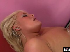 Chubby blonde is thirsty for cum