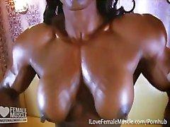Massive Muscle Dominatrix Mistress Treasure Nude Flexing Video