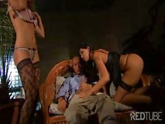 Sexy babes Regina and Simony get pounded in hot threesome action