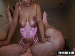 Hot ladyboy piss with cumshot
