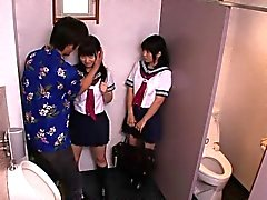 Uniformed japanese schoolgirls fuck dude