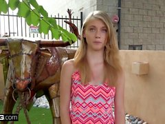 Slim teen with small tits bangs hard with casting agent