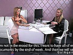 Hot amateur lesbians licking on desk in office on casting