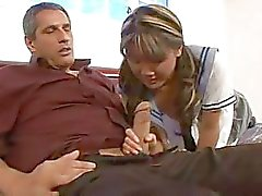 Naughty asian schoolgirl hard fucked her teacher