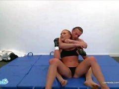 Ronda Rousey lookalike Alyssa Cole training for UFC and Masturbating