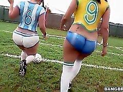 Big ass latinas playing football before fucking