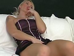Hot Busty Blonde Inserts Cucumbe
