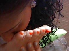 Ebony and White Girls Do Stinky Foot Stuff To Their Sleeping Friend
