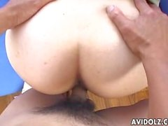 Alluring Japanese hottie rides a hard cock