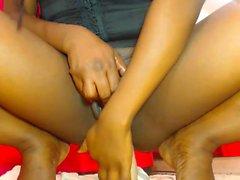 Ebony babe anal toying