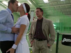 Brunette beauty and two men have passionate threesome