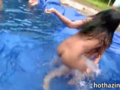 Poor girls had a wrestling competition in a homemade pool