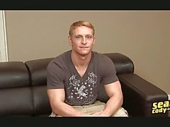 Blonde gay hunk shows off his muscular fit body