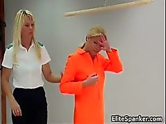 Blond in orange rug muncher slapping part1