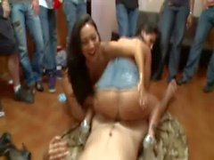 Asa Akira and Ava Addams bouncing booty on student during party
