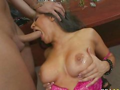 Big titted bitch Jenaveve Joilet gets her mouth fucked by big cock