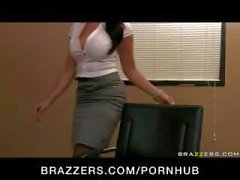Young busty brunette secretary gets punished by boss in his office