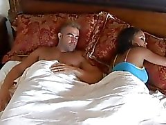 Ebony wife with big tits cheating husband and doing blowjob