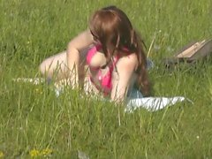 Public masturbation. Orgasm. Two friends spying on naked woman by lake. Wet