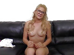 Cute Blonde in Glasses Anal and Cum Facial