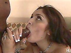 Busty Latina face fucked by black rod