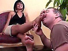 Older Man Worshipping Her Beautiful Feet