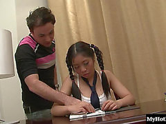 Pigtails diminutive billibongs Oriental team-fucked hardcore doggy style in advance of taking shower