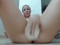 Beautiful Purple Haired Girl with Big Tits vs Dildo on Cam