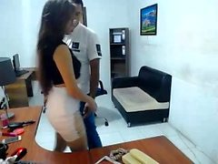 Cute chick gives blowjob on webcam