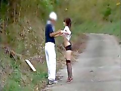 Busty young Asian chick Natsuka Anna gets accosted in the park trail
