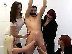 Bound man humiliated by British CFNM women