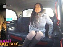 Female Fake Taxi Pretty brunette has 1st lesbian orgasm