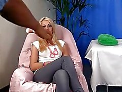 Boobs massage for blonde bimbo